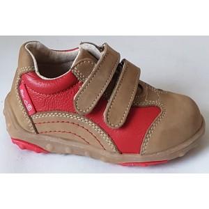 Detská celokoženná obuv - hnedo/červená, vz.391