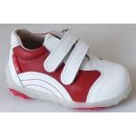 Detská celokoženná obuv - bielo/červená, vz.391