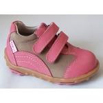 Detská celokoženná obuv - ružovo/hnedá, vz.391