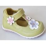 Detská celokoženná letná obuv - zelená, vz.625