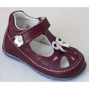 Detská celokoženná letná obuv - bordó, vz.627