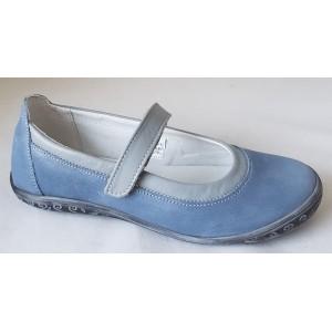 Dievčenské celokoženné balerínky - modrá,vz.615