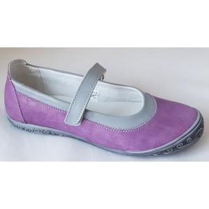 Dievčenské celokoženné balerínky - fialová/šedá,vz.615