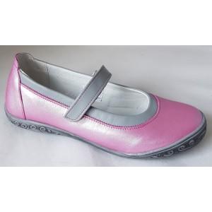 Dievčenské celokoženné balerínky - ružová/šedá,vz.615