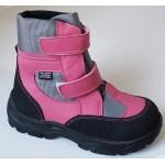 Zimné te-por topánky - ružovo/sivá, vz.607