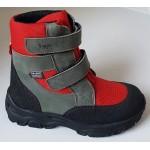 Zimné te-por topánky - šedo- červená, vz.597