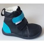 Barefoot obuv Baby Bare Febo Winter - black/tyrkys