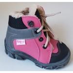Detská zimná obuv - ružovo/šedá, vz.567